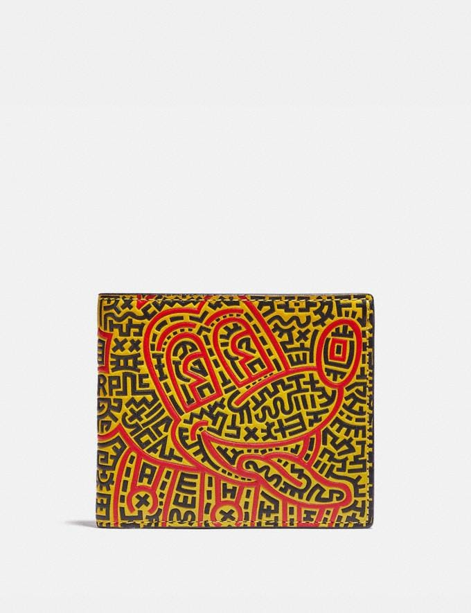 Coach Disney Mickey Mouse X Keith Haring Double Billfold Wallet Black Multi New Featured Mickey x Keith Haring