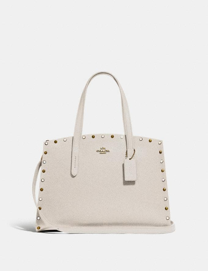Coach Charlie Carryall With Rivets Gold/Chalk New Women's New Arrivals Bags