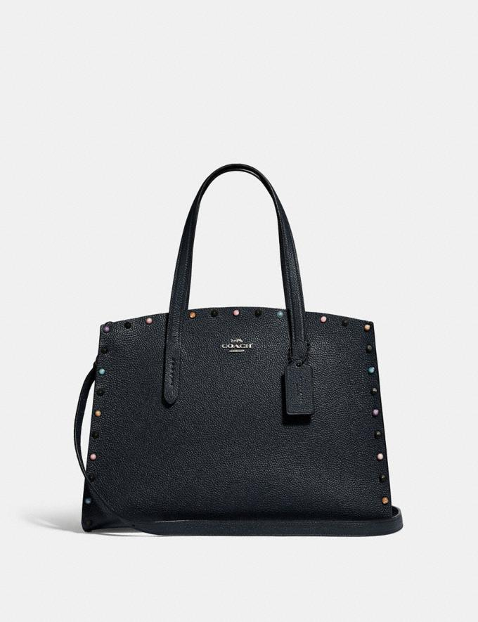 Coach Charlie Carryall With Rivets Gunmetal/Midnight Navy New Women's New Arrivals Bags