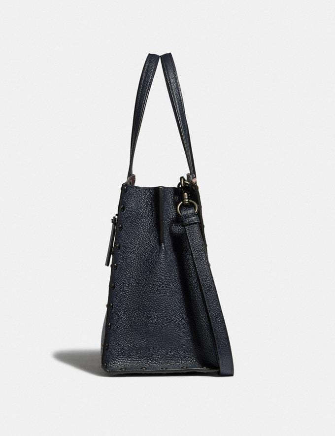 Coach Charlie Carryall With Rivets Gunmetal/Midnight Navy New Women's New Arrivals Alternate View 1