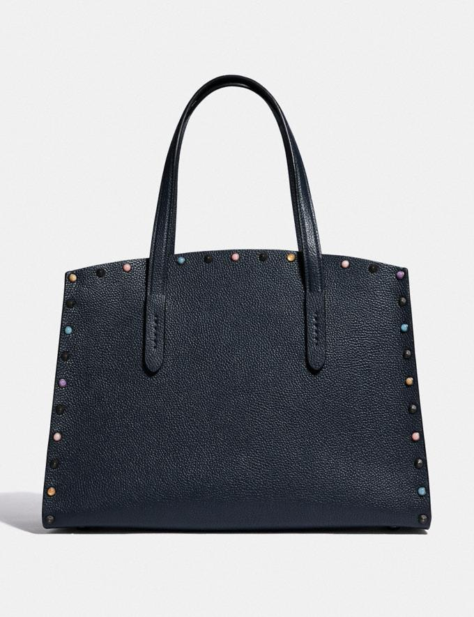 Coach Charlie Carryall With Rivets Gunmetal/Midnight Navy New Women's New Arrivals Alternate View 2