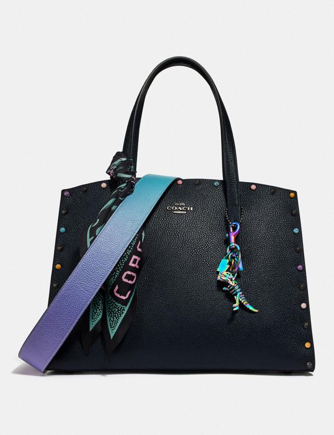 Coach Charlie Carryall With Rivets Gunmetal/Midnight Navy New Women's New Arrivals Alternate View 4