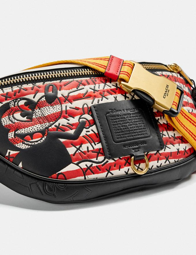 Coach Disney Mickey Mouse X Keith Haring Rivington Belt Bag Brass/Red Multi New Featured Disney x Keith Haring Alternate View 4