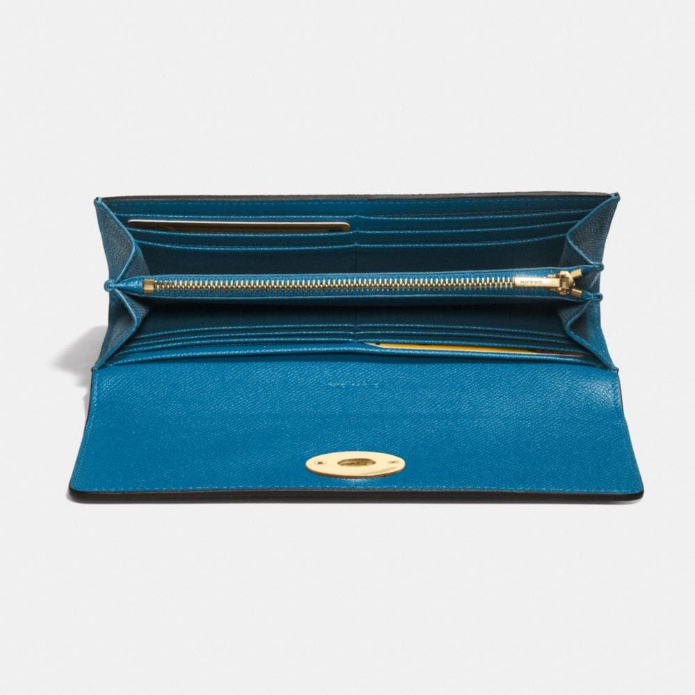 SLIM ENVELOPE WALLET WITH POP-UP POUCH IN EMBOSSED TEXTURED LEATHER - Alternate View L1