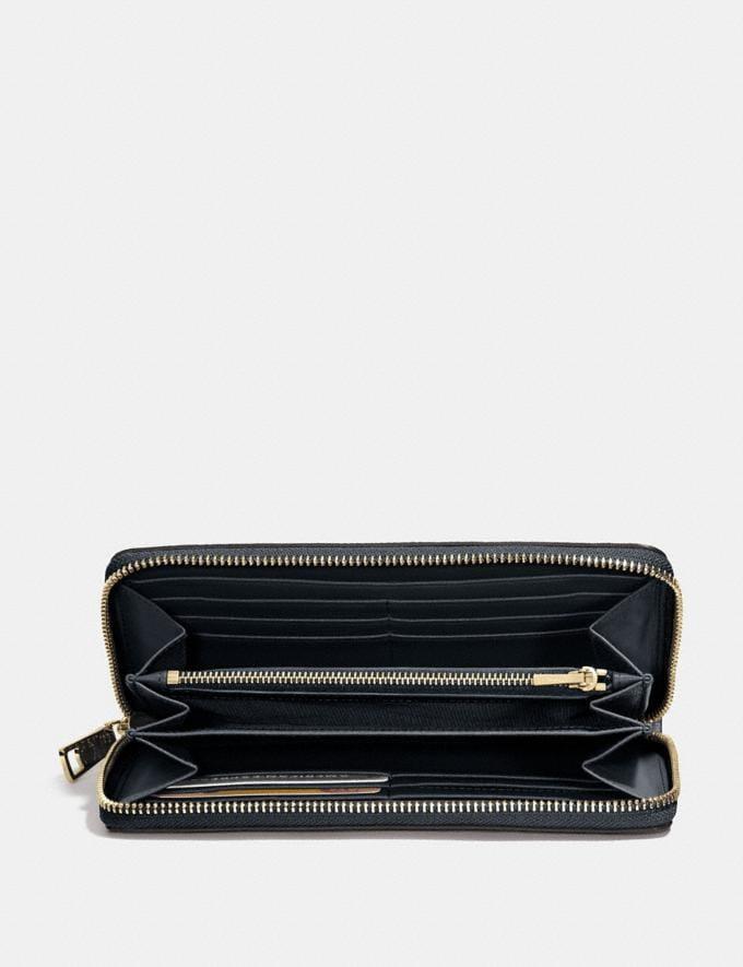 Coach Accordion Zip Wallet Navy/Light Gold Women Wallets Large Wallets Alternate View 1