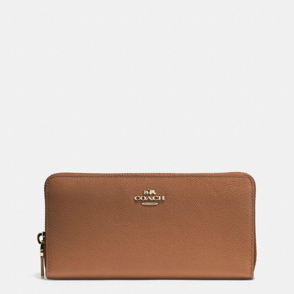 Accordion Zip Wallet in Embossed Textured Leather