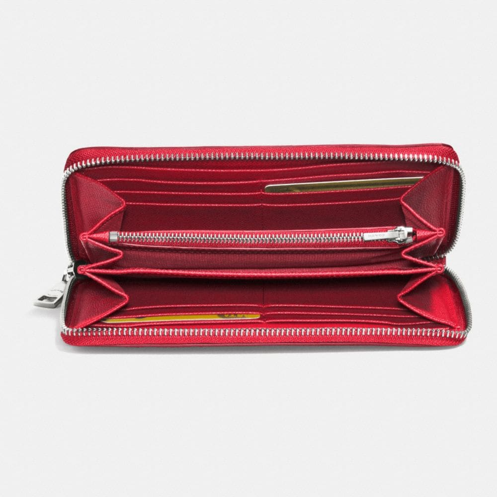 Accordion Zip Wallet in Embossed Textured Leather - Alternate View L1