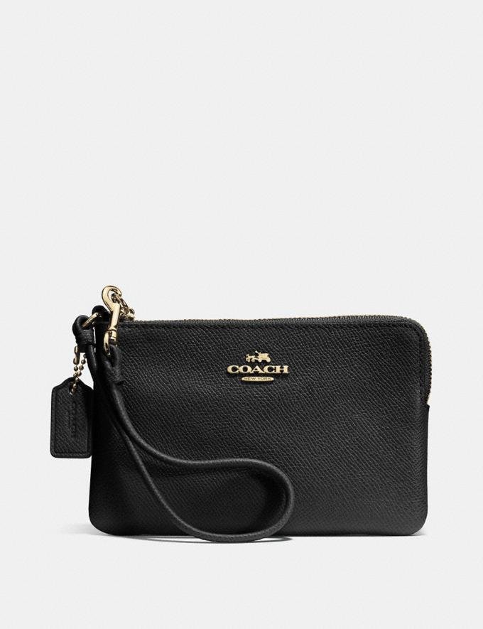 Coach Small Corner Zip Wristlet Black/Light Gold Women Wallets Wristlets