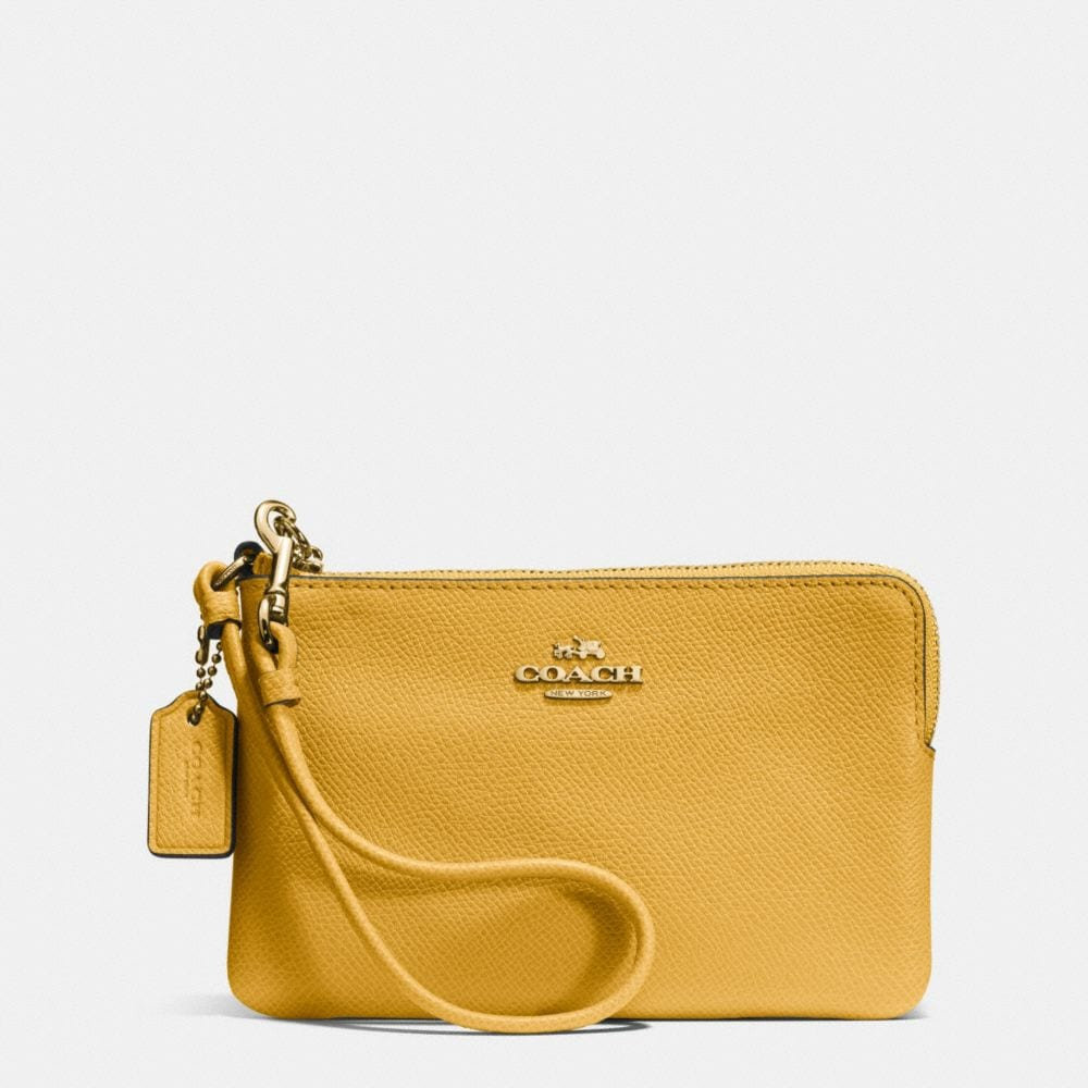 EMBOSSED SMALL CORNER ZIP WRISTLET IN LEATHER