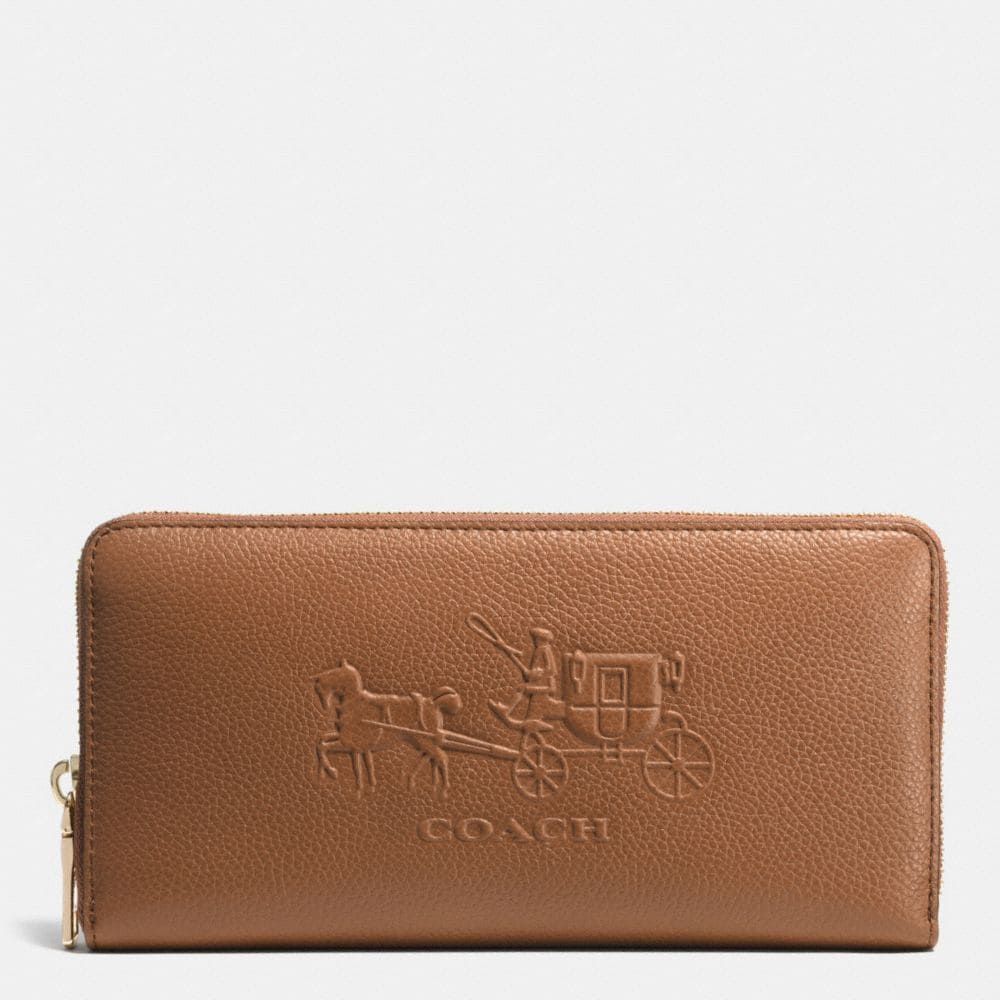 EMBOSSED HORSE AND CARRIAGE ACCORDION ZIP WALLET IN LEATHER