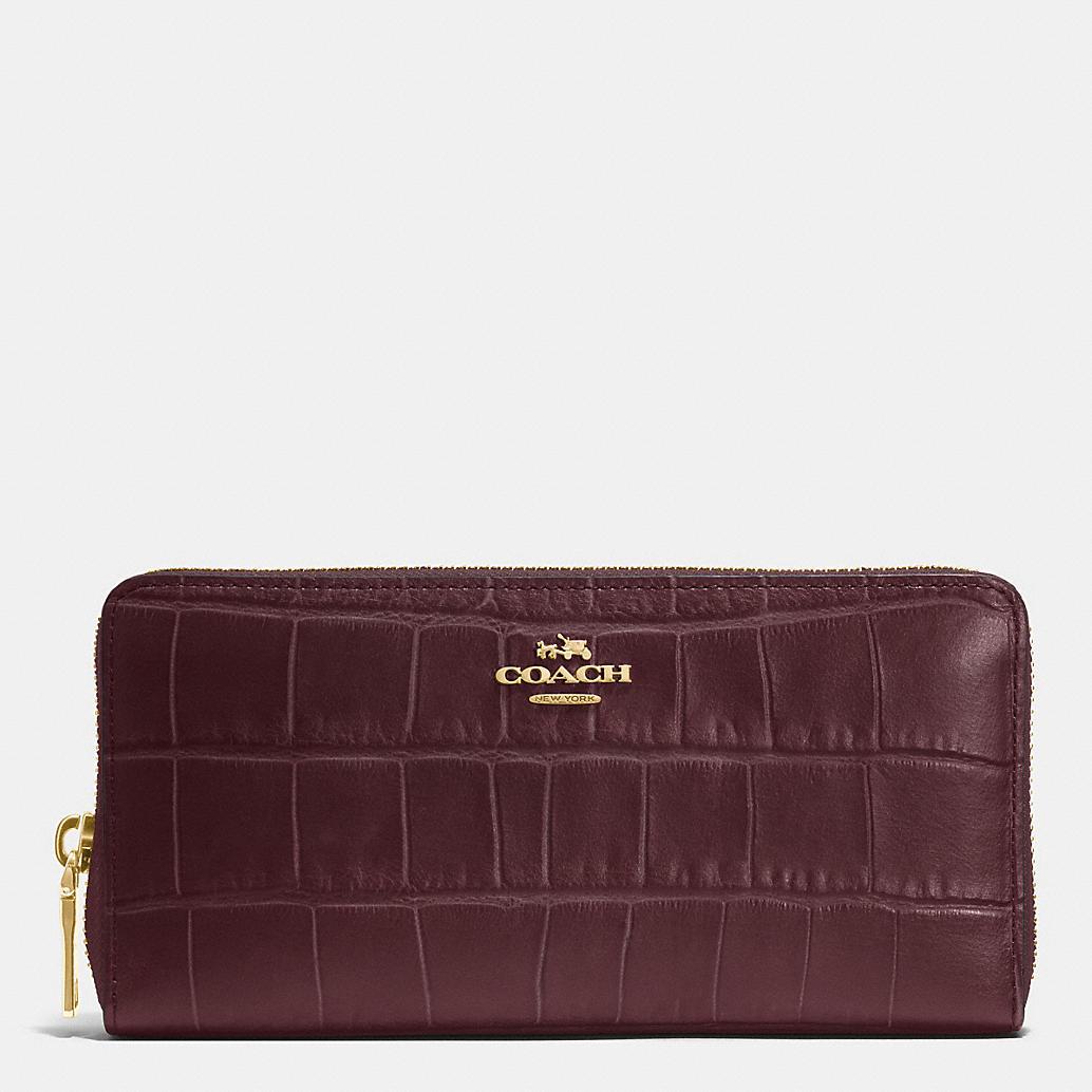 Accordion Zip Wallet in Croc Embossed Leather