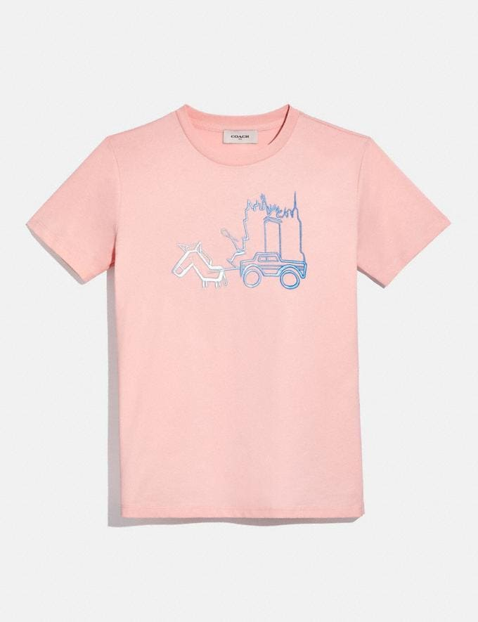 Coach Skyline Horse and Carriage T-Shirt Pink Femme Prêt-à-porter Hauts & T-shirts