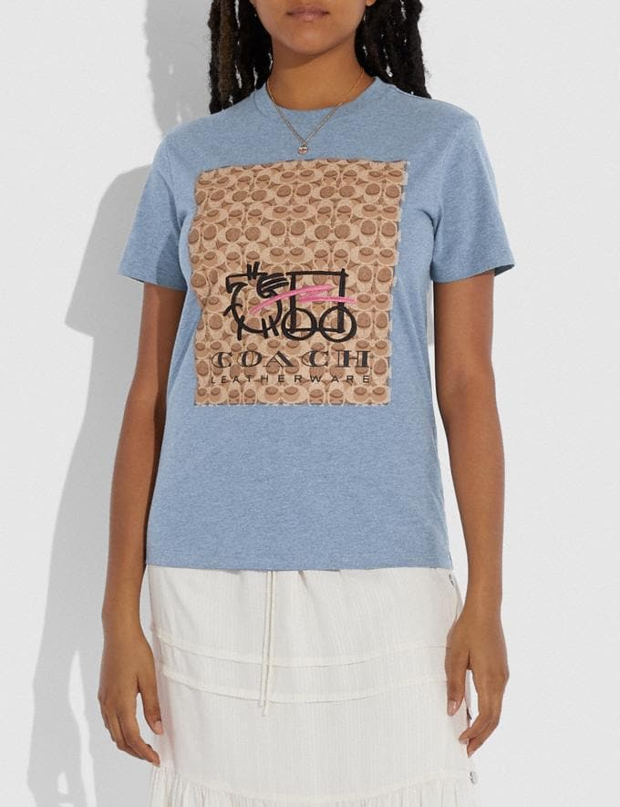 Coach Abstract Horse and Carriage Signature T-Shirt Chambray DEFAULT_CATEGORY Alternate View 1