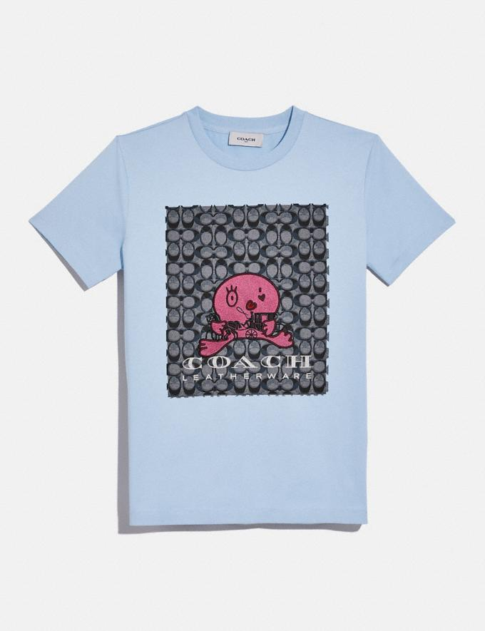 Coach Happy Horse and Carriage Signature T-Shirt Powder Blue DEFAULT_CATEGORY