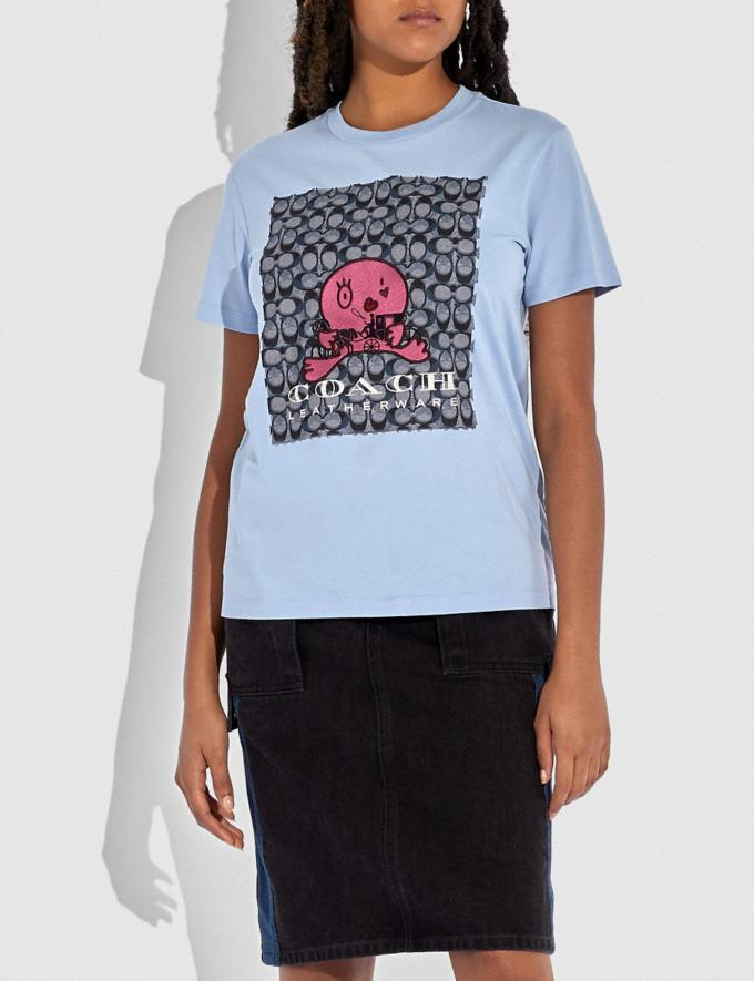 Coach Happy Horse and Carriage Signature T-Shirt Powder Blue DEFAULT_CATEGORY Alternate View 1