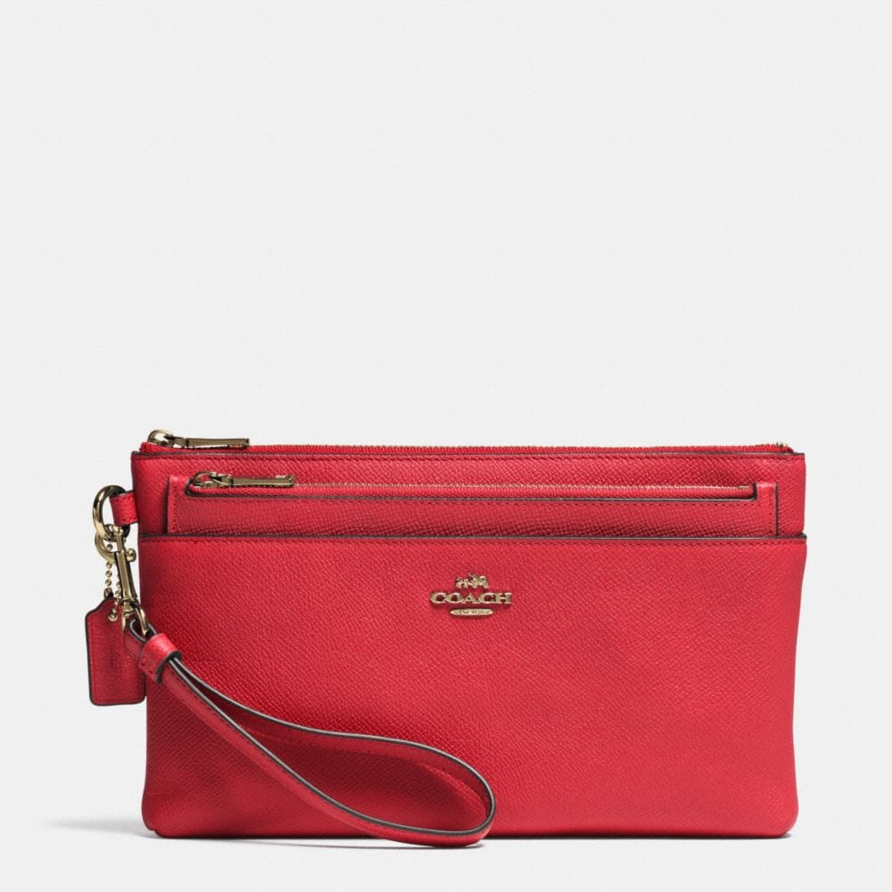 LARGE WRISTLET WITH POP-UP POUCH IN EMBOSSED TEXTURED LEATHER