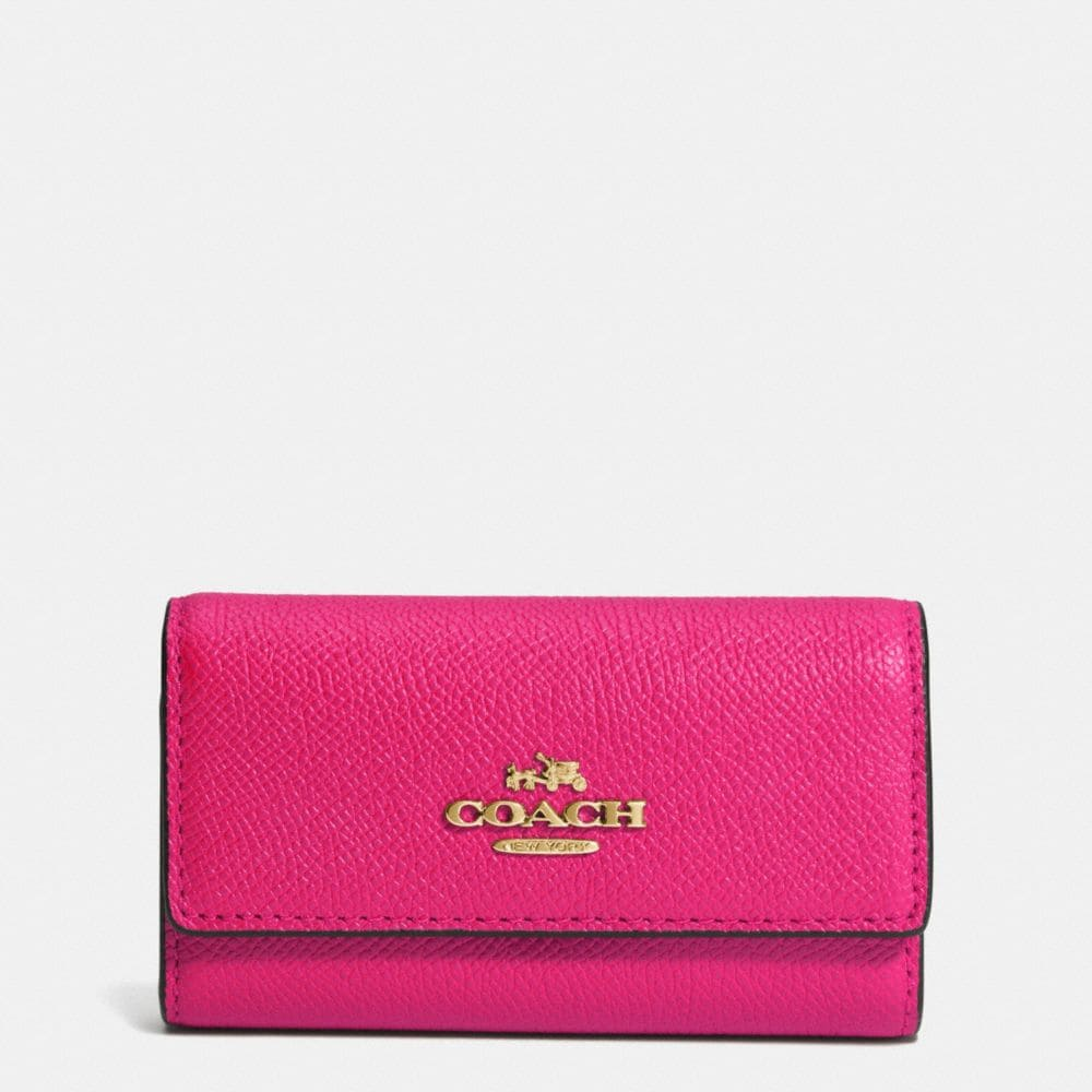 Coach 6 Ring Key Case in Embossed Textured Leather