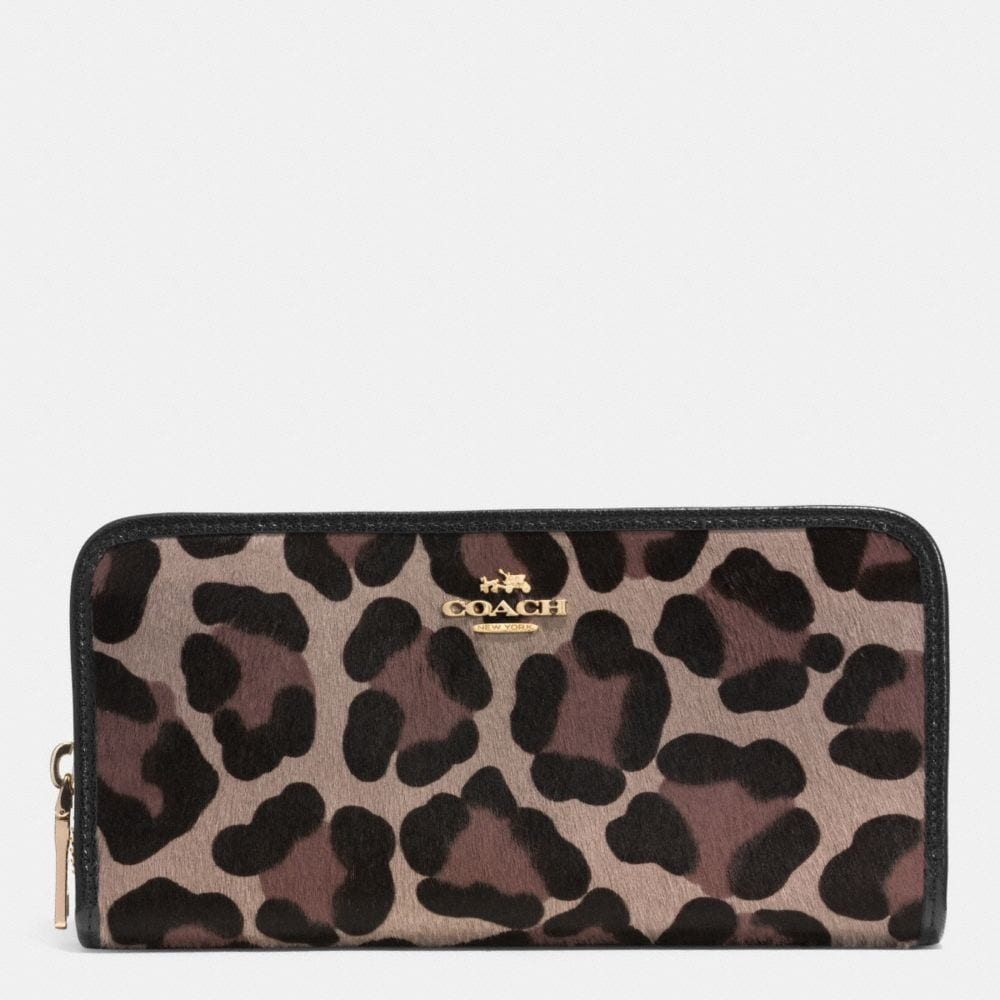ACCORDION ZIP WALLET IN PRINTED HAIRCALF