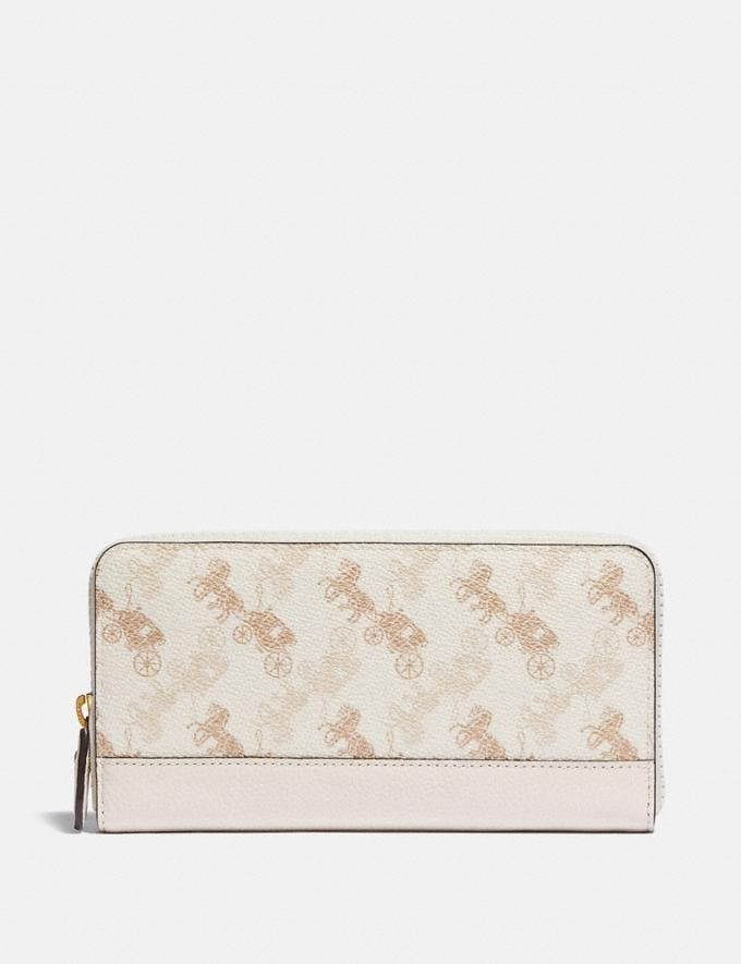 Coach Accordion Zip Wallet With Horse and Carriage Print Brass/Chalk Taupe Women Small Leather Goods Large Wallets