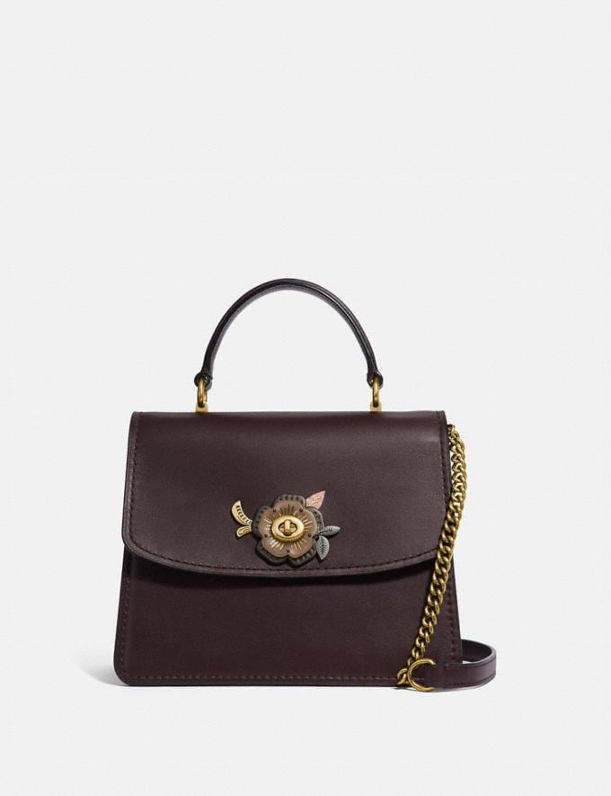 Coach Parker Top Handle With Tea Rose Stones Oxblood/Brass New Women's New Arrivals Bags