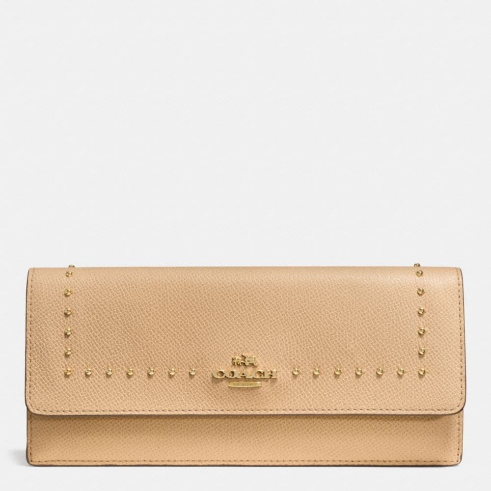 Edge Studs Soft Wallet in Crossgrain Leather
