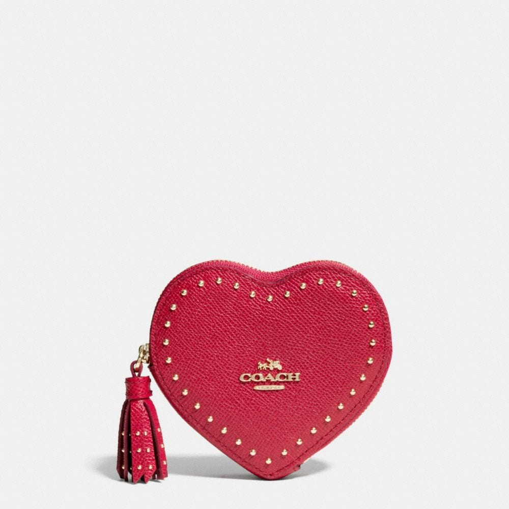 EDGE STUDS HEART COIN CASE IN CROSSGRAIN LEATHER