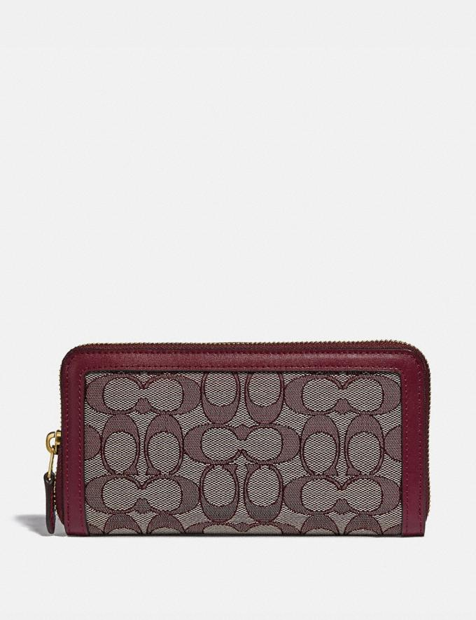 Coach Accordion Zip Wallet in Signature Jacquard B4/Burgundy Blk Cherry Women Small Leather Goods Large Wallets