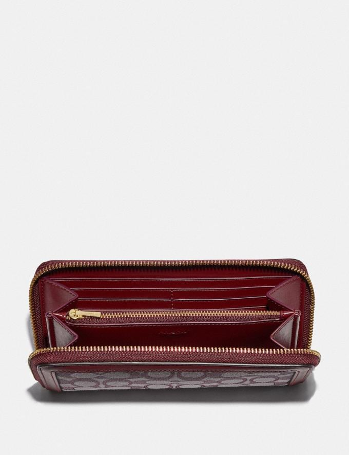 Coach Accordion Zip Wallet in Signature Jacquard B4/Burgundy Blk Cherry Women Small Leather Goods Large Wallets Alternate View 1
