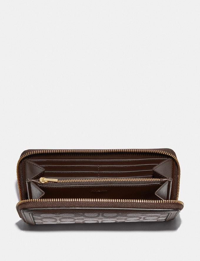 Coach Accordion Zip Wallet in Signature Jacquard Brass/Oak Maple Women Small Leather Goods Large Wallets Alternate View 1