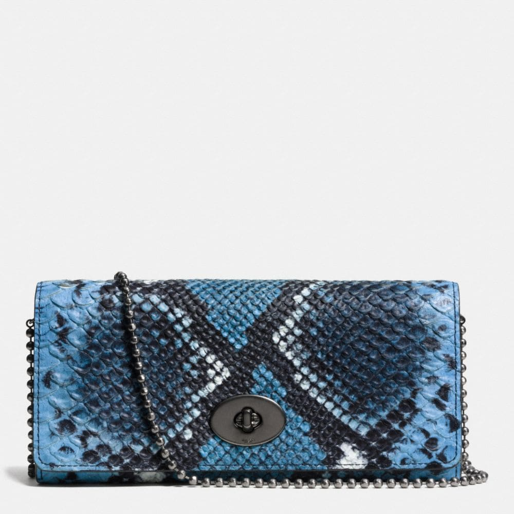 SLIM CHAIN ENVELOPE WALLET IN PYTHON EMBOSSED LEATHER