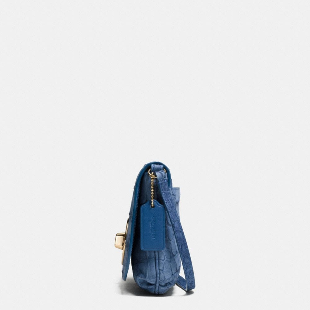 LIV POUCH CROSSBODY IN CROC EMBOSSED DENIM LEATHER - Alternate View A1