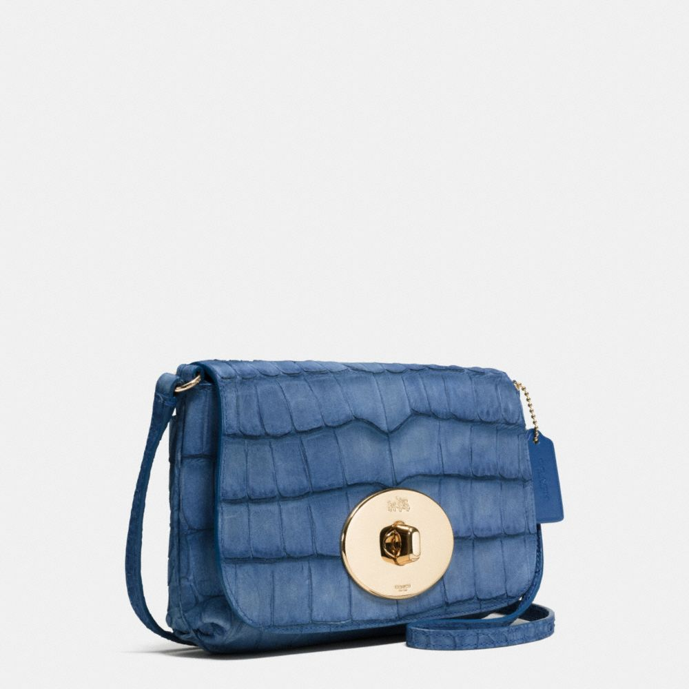 Liv Pouch Crossbody in Croc Embossed Denim Leather - Alternate View A2