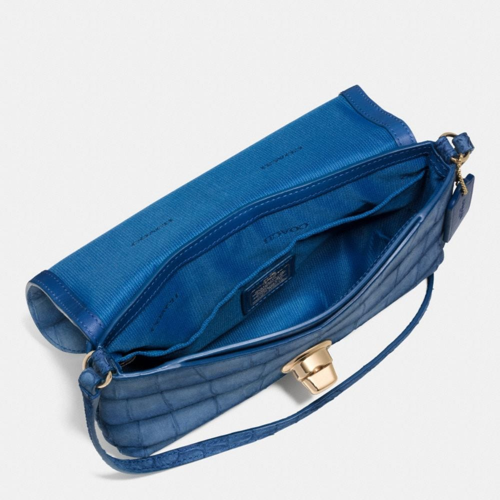 LIV POUCH CROSSBODY IN CROC EMBOSSED DENIM LEATHER - Autres affichages A3