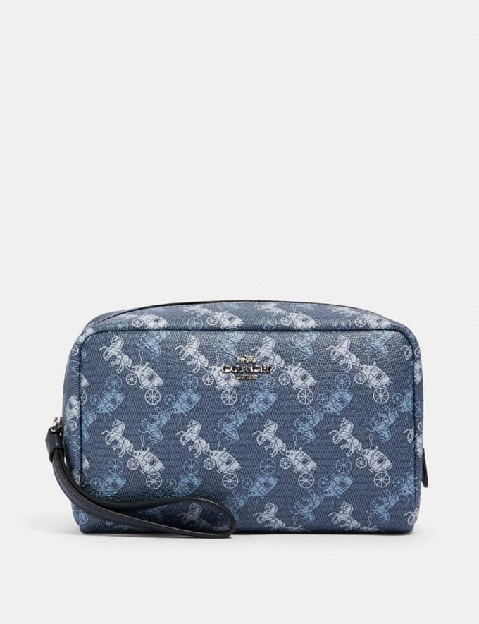 Coach Boxy Cosmetic Case With Horse and Carriage Print Sv/Indigo Pale Blue Multi