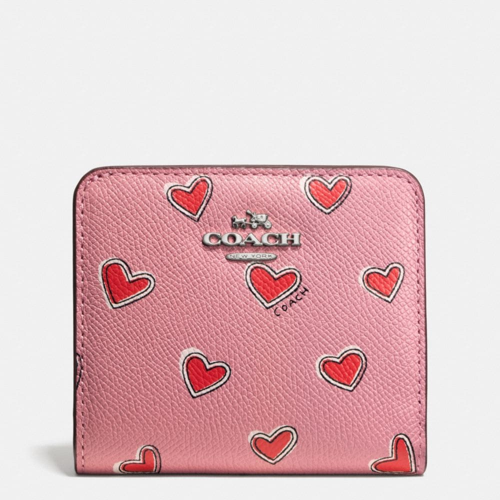 SMALL WALLET IN HEART PRINT CROSSGRAIN LEATHER