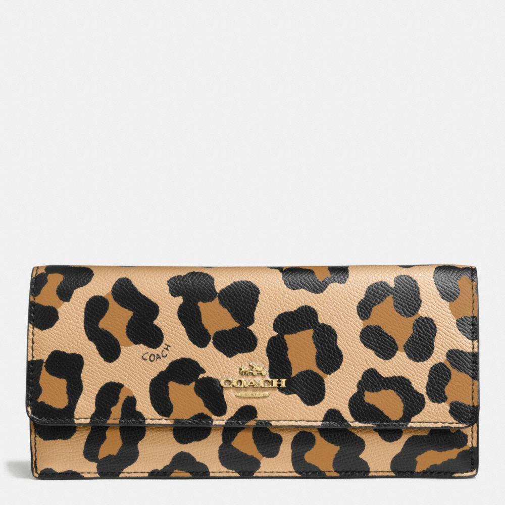 Soft Wallet in Ocelot Print Leather