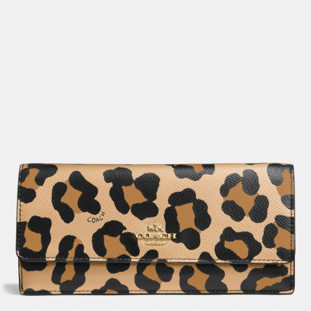 Soft Wallet in Ocelot Print Leather