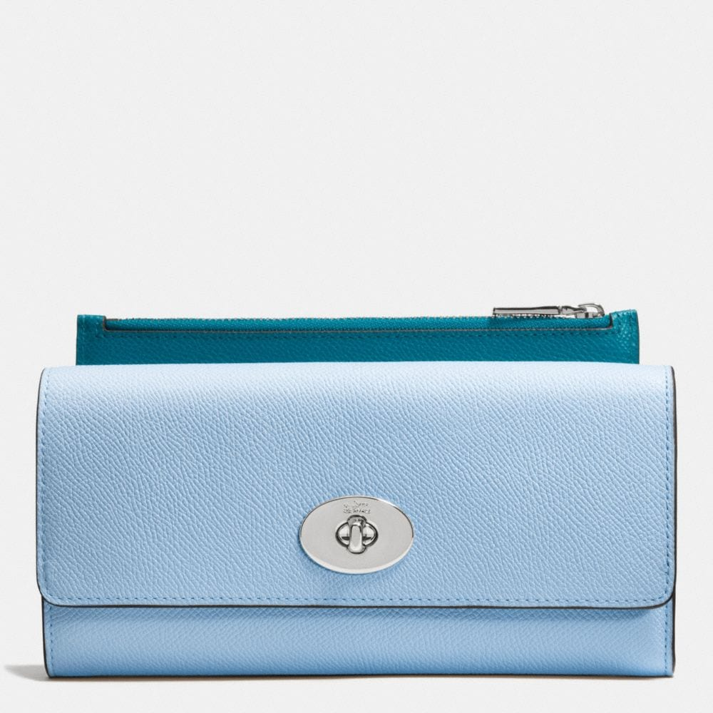 SLIM ENVELOPE WALLET WITH POP-UP POUCH IN CROSSGRAIN LEATHER