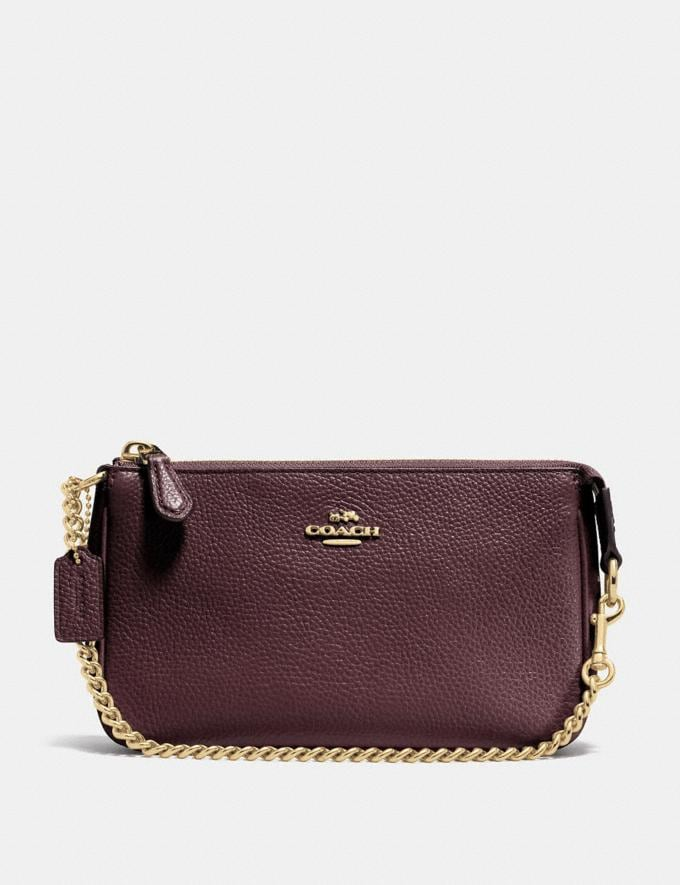 Coach Nolita Wristlet 19 Oxblood/Light Gold Personalise Personalise It Monogram For Her