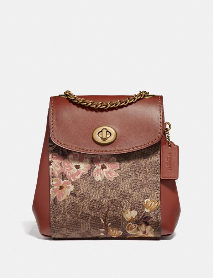 Coach Parker Convertible Backpack 16 in Signature Canvas With Prairie Floral Print Tan/Rust Bow/Brass New Featured Signature Styles
