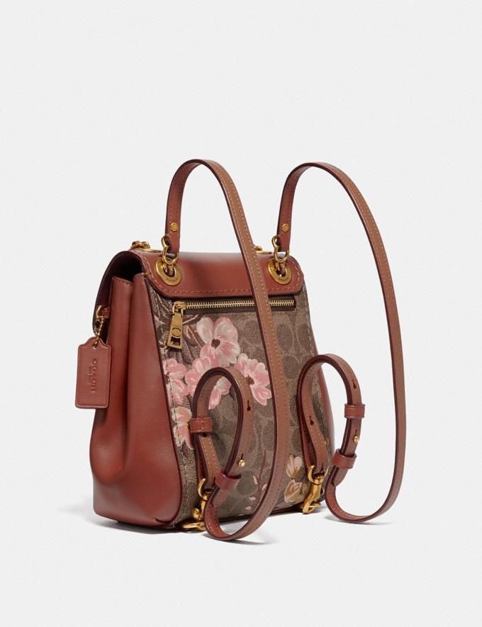 Coach Parker Convertible Backpack 16 in Signature Canvas With Prairie Floral Print Tan/Rust Bow/Brass New Featured Signature Styles Alternate View 1