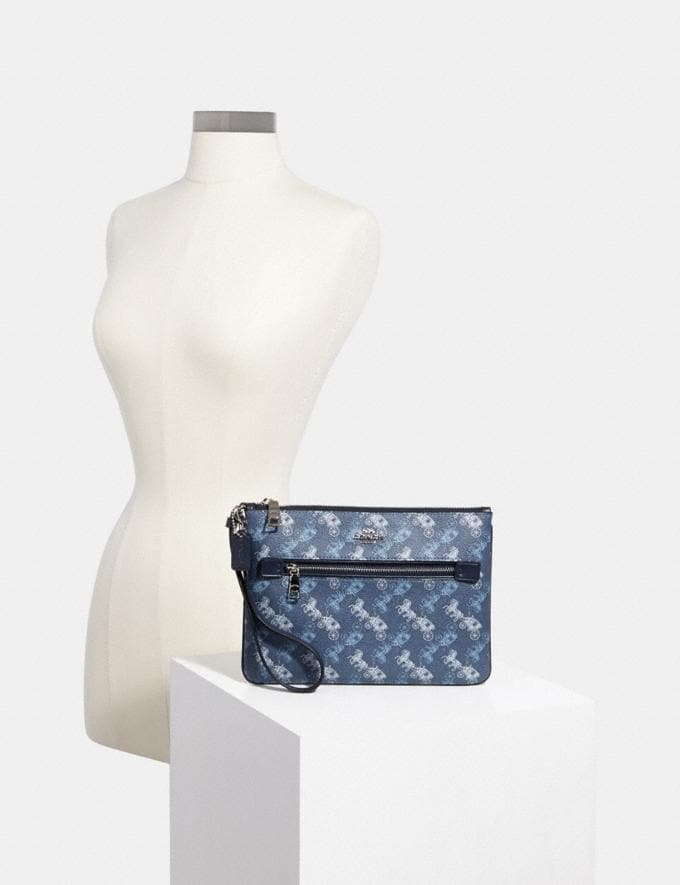 Coach Gallery Pouch With Horse and Carriage Print Sv/Indigo Pale Blue Multi  Alternate View 2