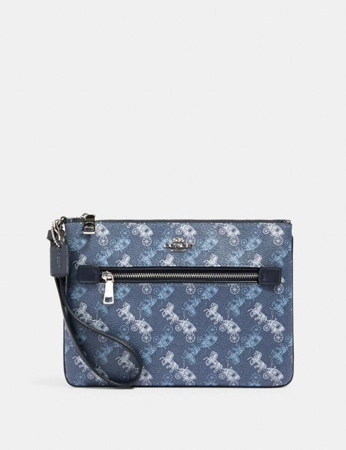 Coach Gallery Pouch With Horse and Carriage Print Sv/Indigo Pale Blue Multi