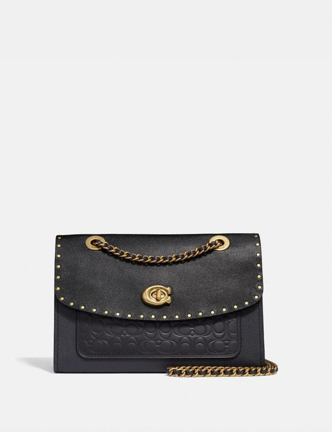 Coach Parker in Signature Leather With Rivets Brass/Black Women Bags Signature Bags