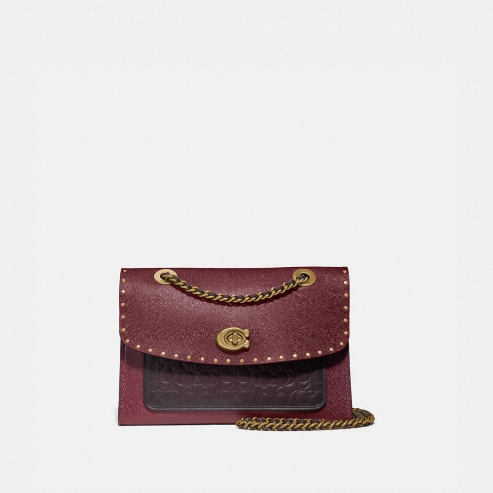 parker shoulder bag in signature leather with rivets