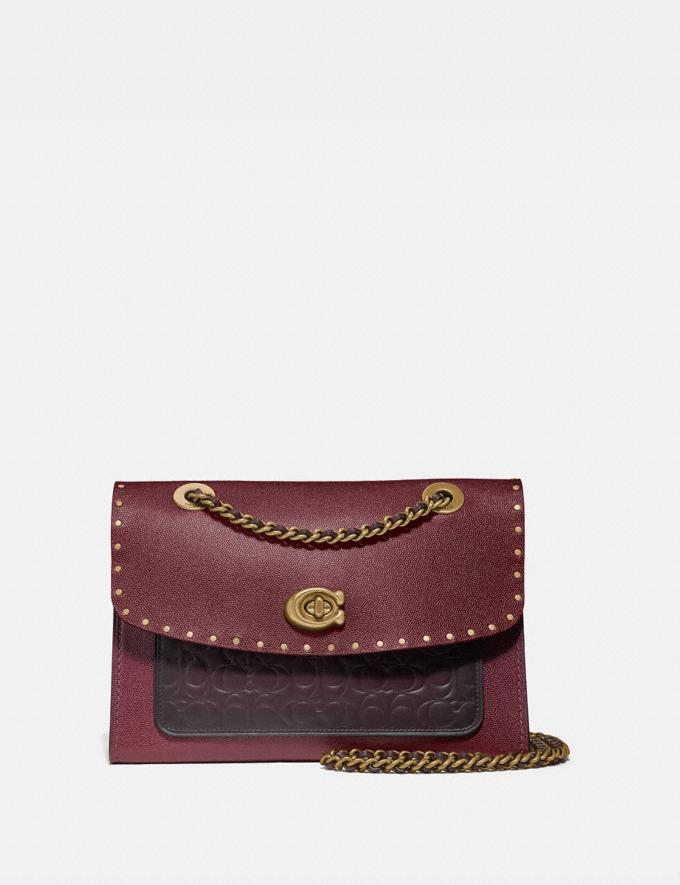 Coach Parker in Signature Leather With Rivets Oxblood Multi/Brass Women Bags