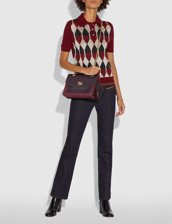 Coach Parker in Signature Leather With Rivets Oxblood Multi/Brass New Women's New Arrivals Alternate View 3