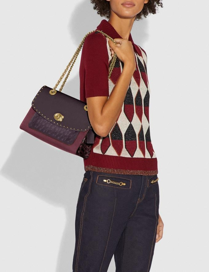 Coach Parker in Signature Leather With Rivets Oxblood Multi/Brass Women Bags Alternate View 4