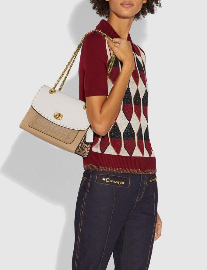 Coach Parker in Signature Leather With Rivets Beechwood Multi/Brass Women Bags Shoulder Bags Alternate View 4