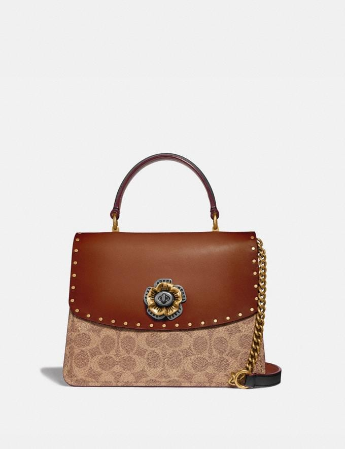 Coach Parker Top Handle in Signature Canvas With Rivets Tan/Black/Brass Women Bags Signature Bags